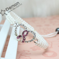Charm Bracelets Asian & East Indian Women's bracelets for women 2013 silver prevention of breast cancer Pink ribbon heart charms weave link rhinestone bracelets wholesale