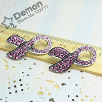 Connectors Alloy  fashion style findings pink crystal rhinestones breast cancer sign Pink Ribbon charm connector make bracelet jewelry wholesale