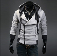 Wholesale 3060 New HOT Men s Casual Personality oblique zipper hooded Slim colors Hoodies amp Sweatshirts Jacket Coat