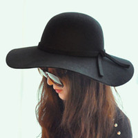 Wholesale Black Lady s wide brim wool felt bowler fedora hats Floppy Cloche