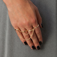 Celtic Women's Gift New Hot selling Gold Silver Tone Thin Shiny Rings For Women 4 Rings One Set Tassel chain ring Midi Knuckle Ring ZY
