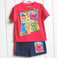 Boy Summer Short 2013 New Sesame Street Elmo boy boys kids short sleeve t shirt top + shorts pants outfit suit clothing set