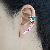 Wholesale Earring for women fashion crystal ear cuffs punk ear clip Korean earrings jewelry LM C235