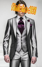 Wholesale Korea Satin Bright Silver With Black Brim Man Groom Tuxedos Wedding Suits Prom Formal Suit Jacket Pants Vest Tie Square OK