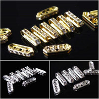 Wholesale Silver Plated Spacer Bars Fusiform Holes White Clear Crystal Rhinestone Charm Finding Loose Beads x7 mm