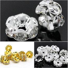 Wholesale Silver Gold Plated Clear Rhinestone Rondelle Wheel Wave Spacer Beads Flower Edge mm Dia