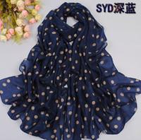 Wholesale 10pcs Big Size new BRAND NEW Style Women s Long silk scarf polka dot velvet chiffon scarf lady s accessories