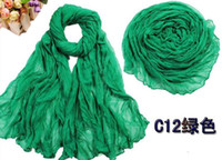 Wholesale 100pcs autumn and winter solid color fluid all match pleated female scarf