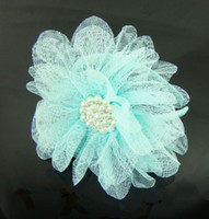 Wholesale New Kids Girls large pearl flower Hairbands lace Headbands Hair Accessories kids gift