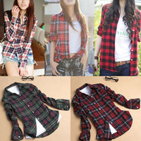 button down shirt - Women Plaid Shirt Tops Slim Blouse Shirts Fashion Cotton Women Button Down Casual Lapel Shirt Plaids Flannel Student School British Style