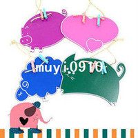 Wholesale New Cute Animal Chalkboard Wood Message Blackboard Pig Cat Sheep Heart Free Rope amp Clips