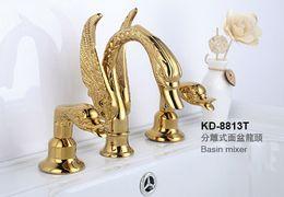 3 PCS swan sink faucet gold clour widespread lavatory sink faucet deck mounted Luxury