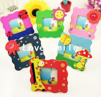Wood   free shiping, 5pcs lot Mini Cartoon Wood picture photo frame