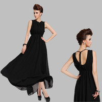 Wholesale Silk Maxi Evening Dress - 2015 Beach Party Dresses Europe Women's Lace Dress Sexy Backless Plus Size maxi Vest dress Black Evening Dresses for women G8096