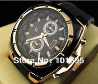 Fashion Men's Auto Date round watch New Steel V6 watch Man Quartz Round dial Gold digital V6 Men Shiny Discount watches Black strap free shipping drop shipping