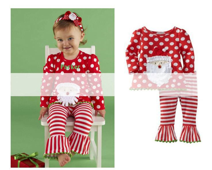 Children's Outfits Baby Girls Xmas Christmas Dotted Red Dot T ...
