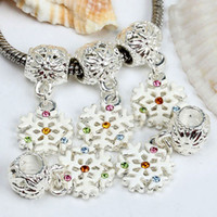Silver big charms chain - 100pcs Crystal Glass Snowflake Dangle Big Hole European Beads Fit Bracelet Snake Chain Charms