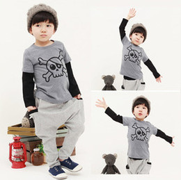 Skull Baby Boys Outfit Autumn Fashion Skull Printed Long Sleeve T-shirt +Long Pants Fall Children Sport Suit Kids Clothing Set 6838