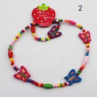 Wood as photo free shipping Children's Jewelry wooden bead 1 set=1pcs necklaces +1pcs bracelets randomly ship it