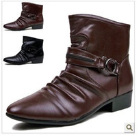 Wholesale new hot sale fashion High top men shoes pointed toe leather trend mens boots martin shoes size