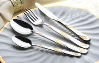 Metal dinner plate - 24k Golden Silver Plated Top Grade Fine Stainless Steel Table Ware Dinner Set Fiesta Dinnerware for Crafts FF821