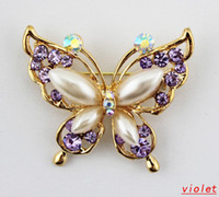 Wholesale New Fashion Exquisite Brooches Korean Style Glitter Crystal Pearl Butterfly Pins Brooches for Women Bridal Brooch Br005
