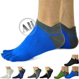 Wholesale NEW Men Antibacterial Breathable Short Tube Cotton Five Toe Socks Sports socks Shoe size US mm