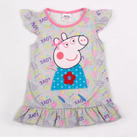 Wholesale H4163 m y Nova kids summer wear baby girl t shirt dress cartoon PEPPA PIG clothes girls tunic tops floral printing cap sleeve tee shirts