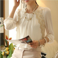 Wholesale Fashion women beaded chiffon blouse women long sleeved lace blouse with size S M L XL women clothing