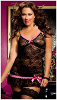 Wholesale 2013 Newest nighty Sexy Women Lady Lingerie Babydoll Lace Off Shoulder Backless Sheer Mini Dress Underwear Sleepwear Black