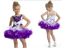 purple cupcake - Hot Sale Straps White amp Purple Girl s Party Cupcake Mini Short Girl s Pageant Dresses