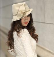 Wholesale Women Wool Felt Hat Millinery Female Fedoras Wool Felt Hat Bowknot Fashion Women s Short Brim Hat Black Thread Leaf