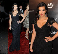 Reference Images Tulle Sleeveless 2015 New Designer Fashion V Neck Sheath Column Floor Length Kim Kardashian Sexy Black Lace In Stock Celebrity Dresses Evening Prom Gowns