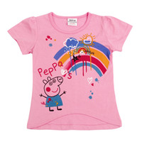 Girl Summer Standard Peppa Pig 20pcs Lot high quality Peppa Pig cute Girls Kids Short Sleeve Top T shirt Tees Pink