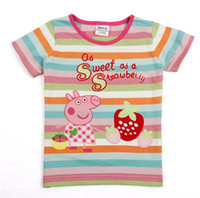 Girl Summer Standard Peppa Pig 10pcs Lot cute Peppa Pig Girl Girls Kids Short Sleeve Striped Embroidery Top T shirt Tees hot sale