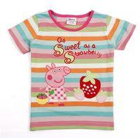 Girl Summer Standard Peppa Pig 10pcs Lot cute Peppa Pig Girl Girls Kids Short Sleeve Striped Embroidery Top T shirt Tees hot sale