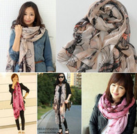 Wholesale Chinese flowering crab apple Cotton and linen Scarf Silk scarves china post