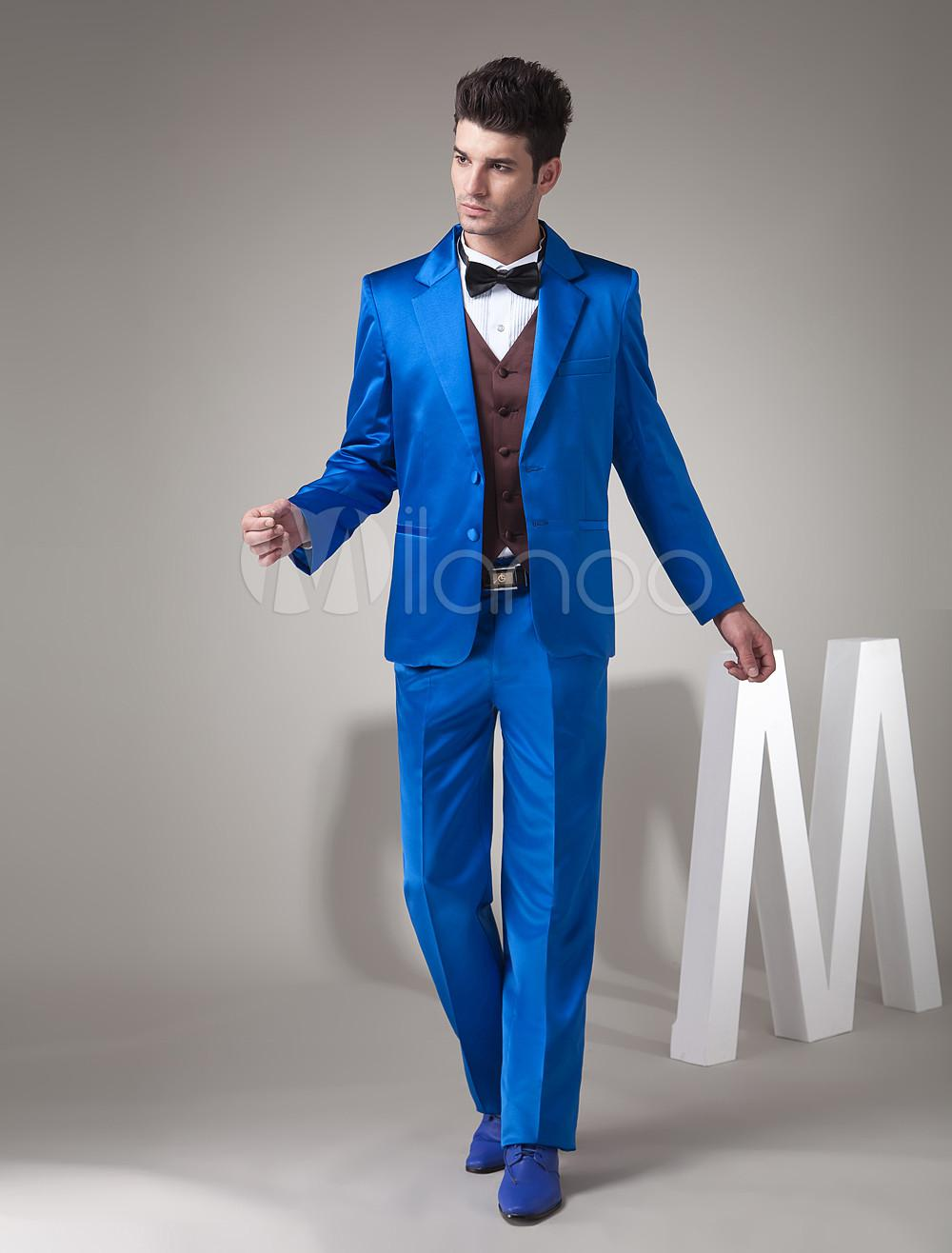 Royal Blue Single Breasted Button Worsted Men's Suits Groom Wear