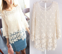 Wholesale NEW Women Ladies Floral Loose Crochet Sleeve Lace Sexy TEE TOP Blouse B18