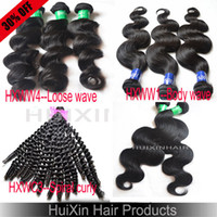 Wholesale A OFF bundle A virgin Brazilian Peruvian Malaysian Body wave Loose wave Spiral curly cabelo hair extensions