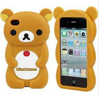 Wholesale 30pc D rilakkuma Silicone gel Case rubber cartoon teddy bear cases For iPhone S iPhone G mixed color C34