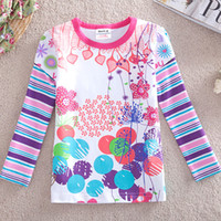 Wholesale F3395 Nova m y Toddler girls white t shirts cotton long sleeve spring autumn girls shirts flowers printing strass plain tee shirts tops