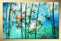 bamboo art work - Art works hand painted Green bamboo decorative landscape oil painting on canvas quot X20 quot