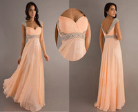 Wholesale Cheap A Line Sweetheart Cap Sleeves Glitter Crystal and Pleated Floor Length Evening Dresses Prom Dresses Chiffon