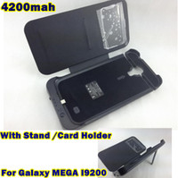 battery charger For Samsung  4200mah Rechargeable External Backup Battery Charger Dormancy Case Power Bank For Samsung Galaxy MEGA I9200 S view W Kickstand Card Holder