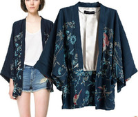 Wholesale NEW Vintage Retro Women Ethnic Phoenix Loose Style Kimono Cardigan Jacket Coat