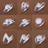 Unisex Chirstmas With Side Stones 925 Silver Stones Rings Jewelry Mix Order Multi Style Crystal Circle Ring diamond Finger Rings Size 8 Unisex Silver Rings
