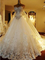 Wholesale New Luxury Hot Elegant White Lace Wedding Dresses A Line Sweetheart Swarovski Crystals Beaded Appliques Monarch Train Bridal Gown