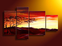 bf oil - hand paintedmetal wall art Warm color peak bf sun tree decoration abstract Landscape oil painting on canvas set frame