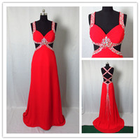 Red Prom Dresses with Colorful Crystal Beads 2015 Sexy Spagh...